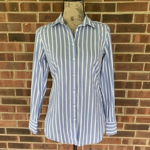 Ann Taylor blue white striped button down shirt